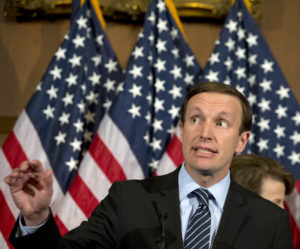 Sen. Chris Murphy, D-Conn., speaks during a media availability on Capitol Hill, Monday, June 20, 2016 in Washington. A divided Senate blocked rival election-year plans to curb guns on Monday, eight days after the horror of Orlando's mass shooting intensified pressure on lawmakers to act but knotted them in gridlock anyway — even over restricting firearms for terrorists. (AP Photo/Alex Brandon)